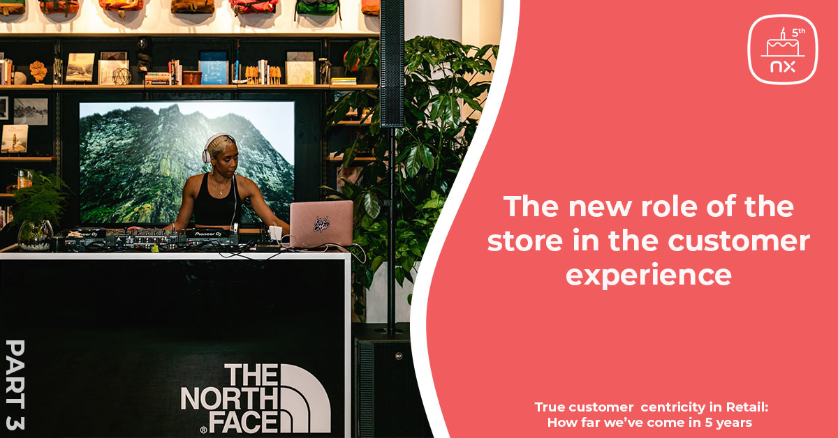 A DJ spins at The North Face to provide customers with a great experience